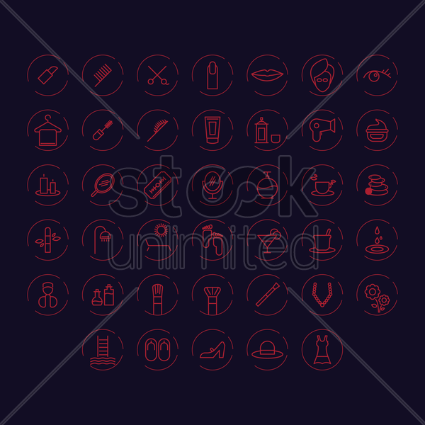 set of beauty icons vector graphic