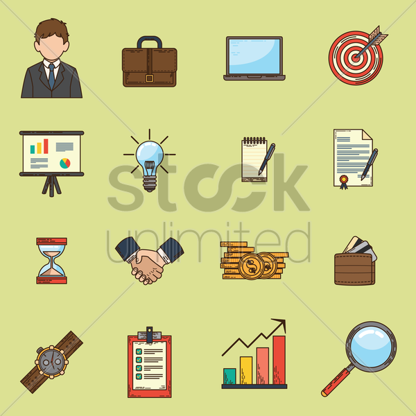 set of business icons vector graphic