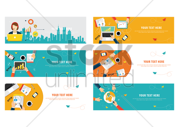 set of business template design icons vector graphic