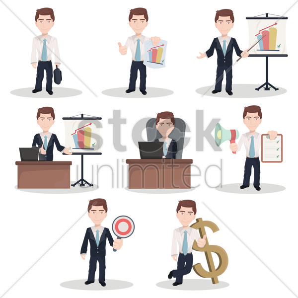 set of businessman figures vector graphic