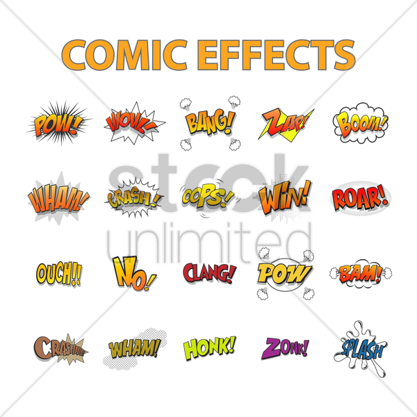 set of comic effects vector graphic