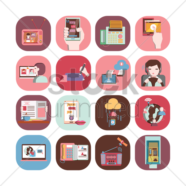 set of communication icons vector graphic