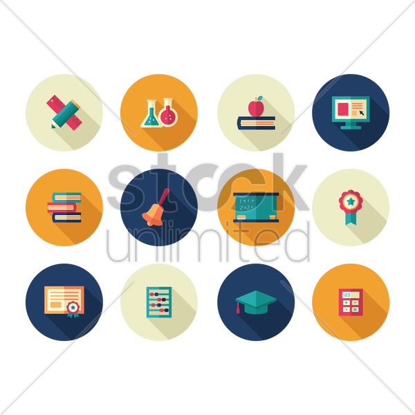 Free set of education icons vector graphic