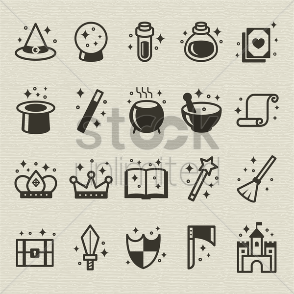 set of fantasy icons vector graphic