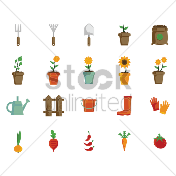 set of gardening icons vector graphic