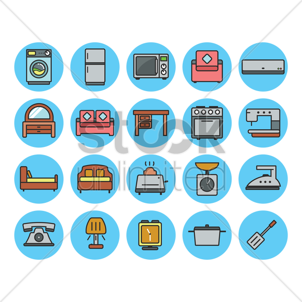 set of home appliances icons vector graphic
