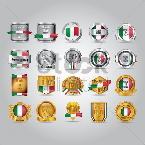set of made in italy badges vector graphic