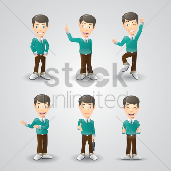 set of men with various expressions vector graphic