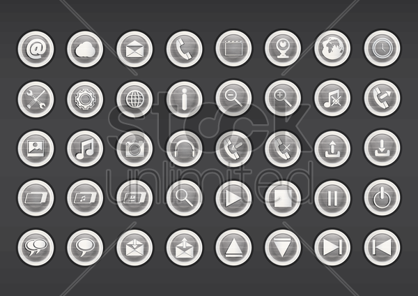 set of multimedia icon vector graphic