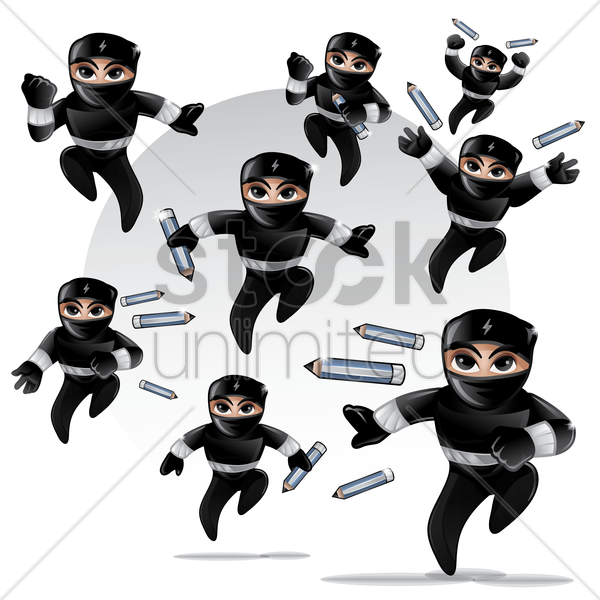 set of ninja with pencils vector graphic