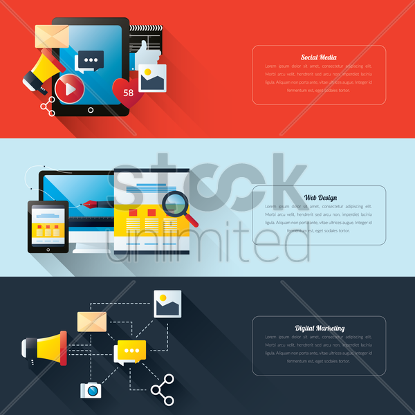 set of technology banners vector graphic