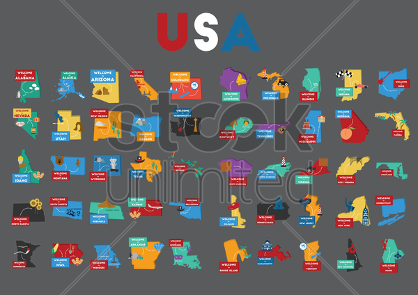 set of usa state maps vector graphic