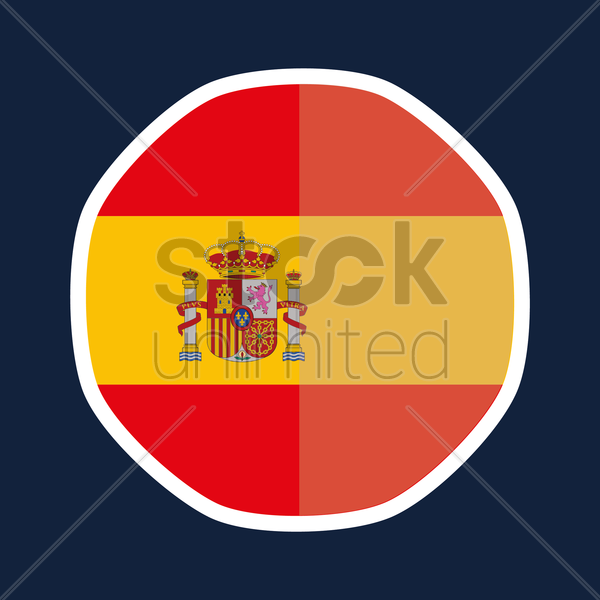 Spain flag sticker vector graphic