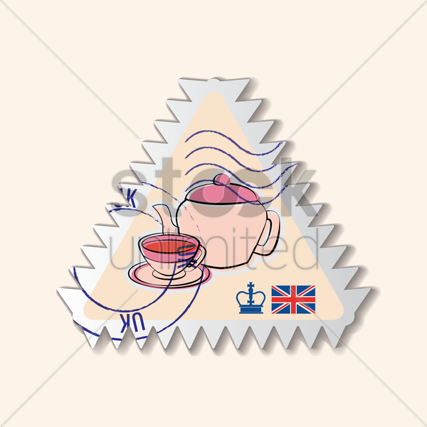 teapot postage stamp vector graphic