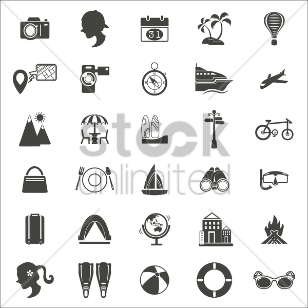 travel and vacation icons vector graphic