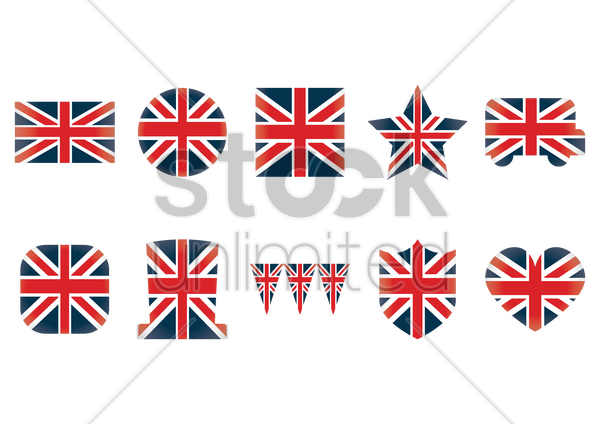 united kingdom flag icons vector graphic