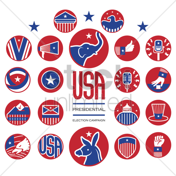 usa presidential election campaign icons vector graphic