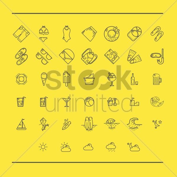 various summer and beach icons vector graphic