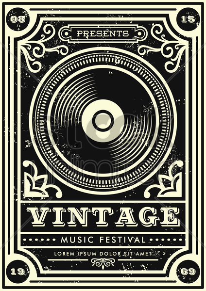 vintage music festival design vector graphic