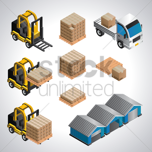 warehouse equipment set vector graphic