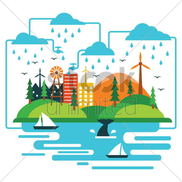 water cycle vector graphic