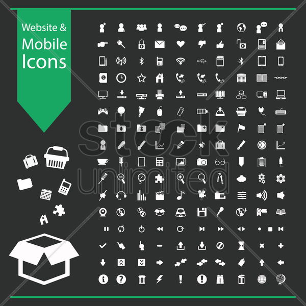 website and mobile icon collection vector graphic