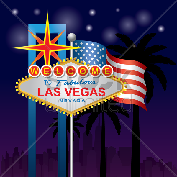 welcome to las vegas signboard vector graphic