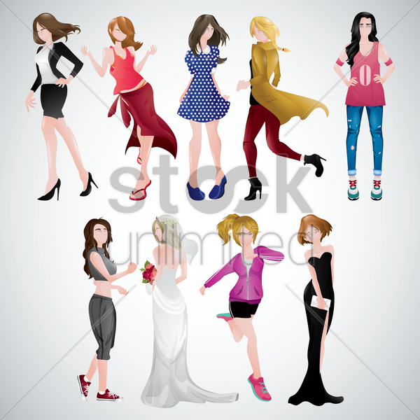 women in different clothing vector graphic