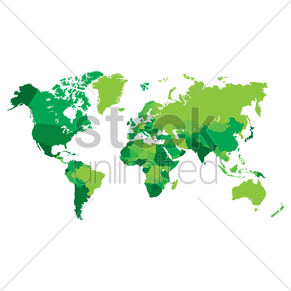 world map in green vector graphic