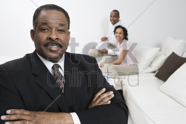 accountant with client couple stock photo