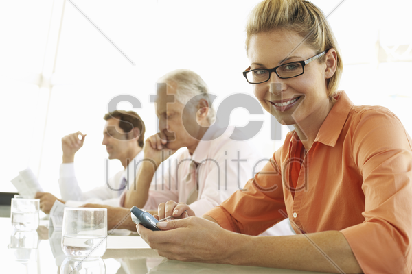 businesswoman in meeting stock photo
