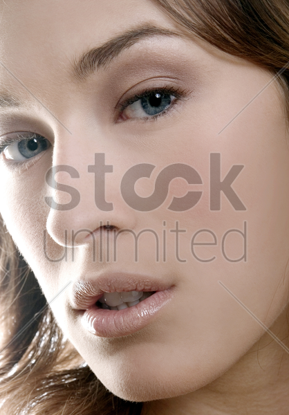 close-up of a woman's face stock photo
