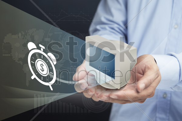 cupped hands presenting time management concept stock photo