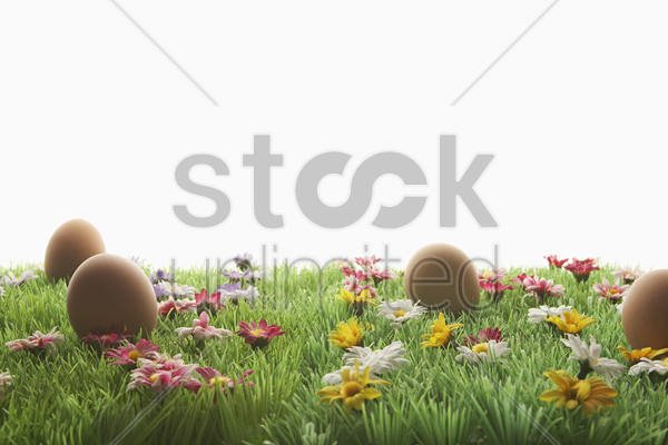 easter eggs on artificial meadow stock photo