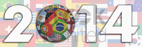 flags with 2014 text stock photo