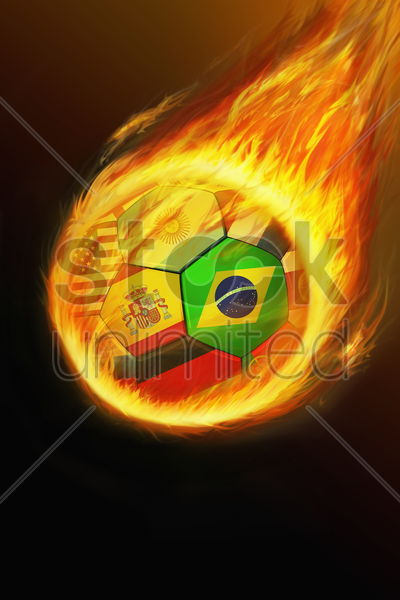 flaming ball with world flags stock photo