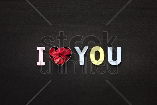 i love you concept with cookie cutter stock photo