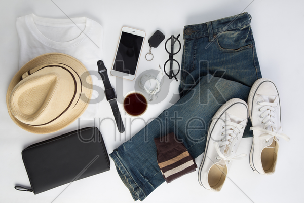 men's clothing and accessories on white background stock photo
