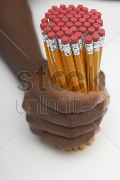 person holding large group of pencils close-up of hand stock photo