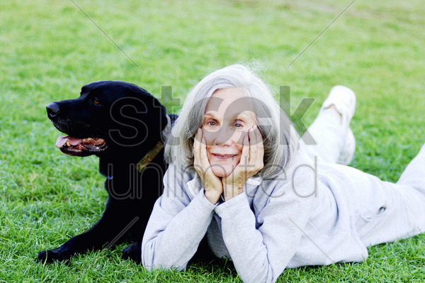 senior woman lying on the field with her dog stock photo
