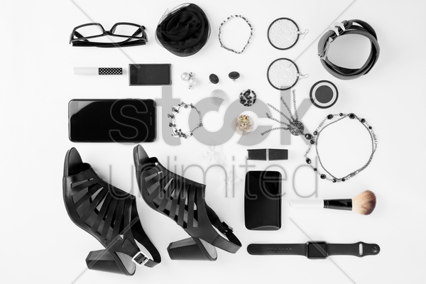 woman's outfit and accessories on white background stock photo