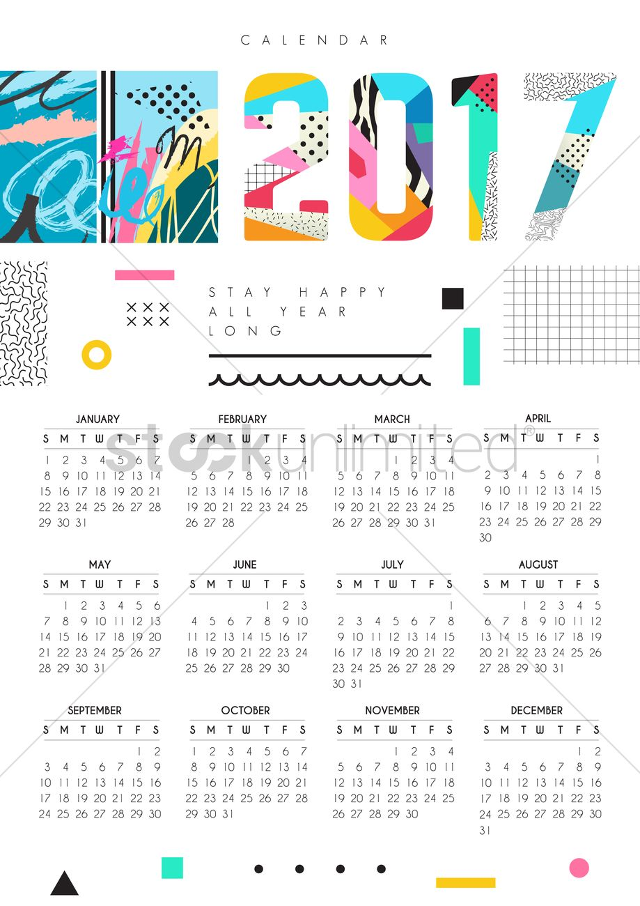 December Calendar Art : Modern art calendar vector image stockunlimited