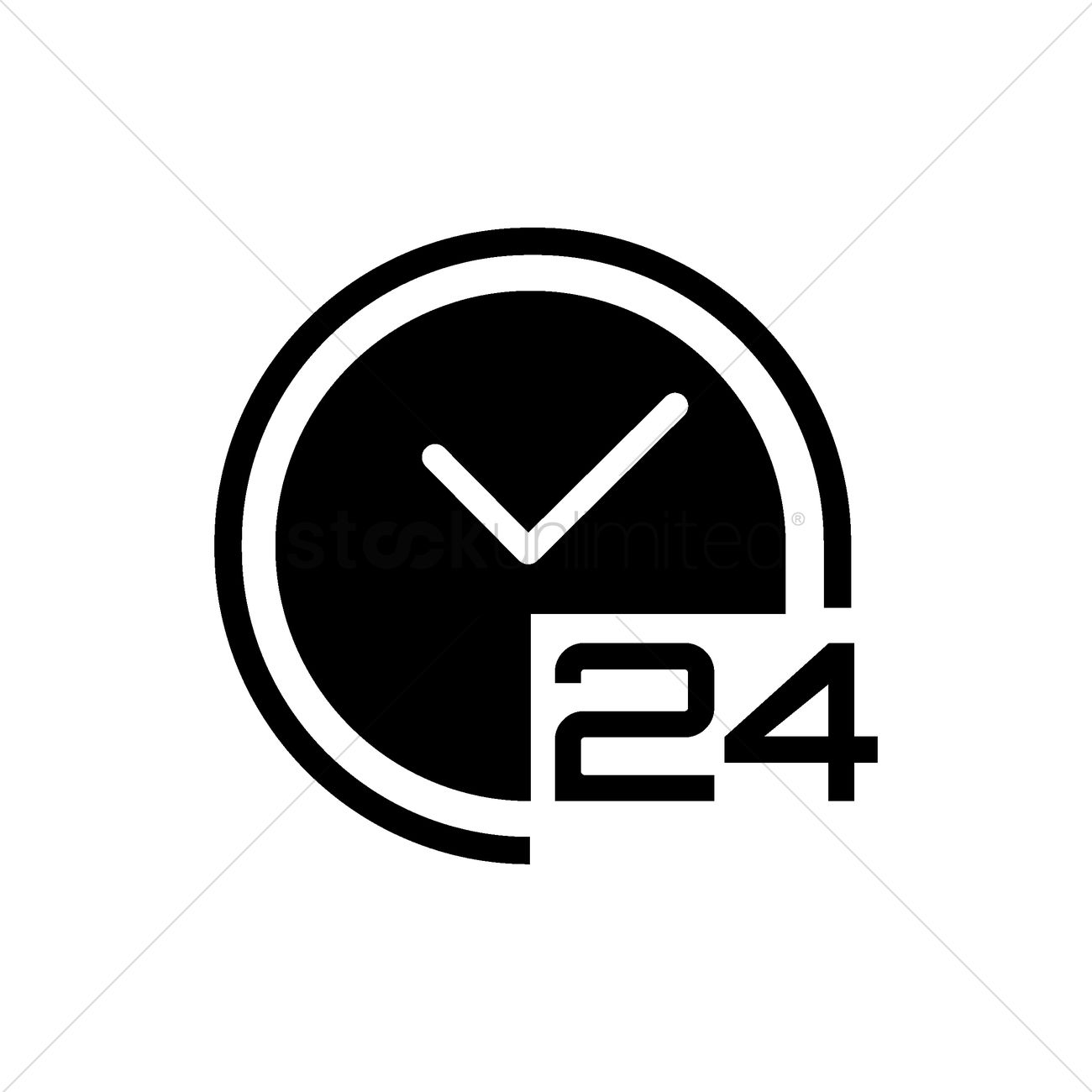 24 hours clock icon Vector Image - 2003997 | StockUnlimited