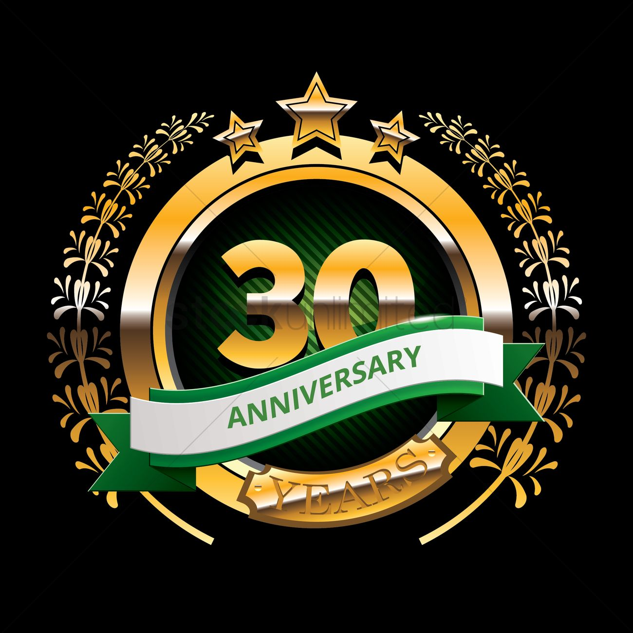 30 years anniversary label with ribbon vector image 1399829