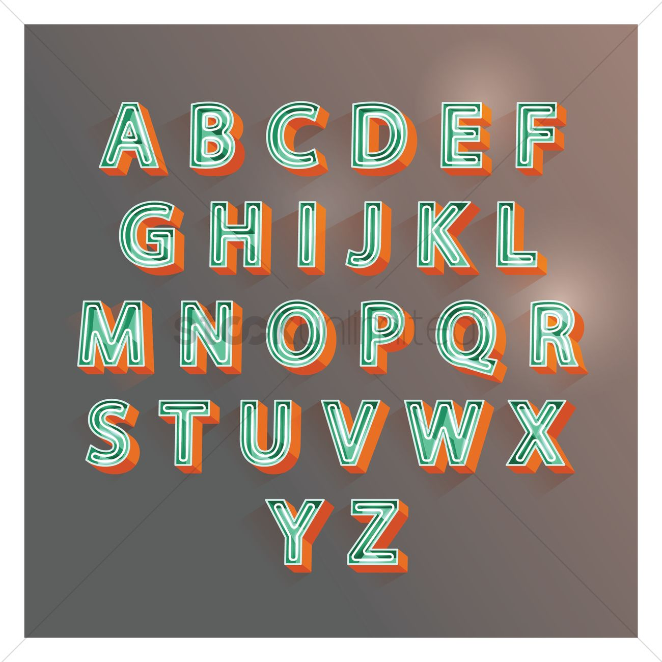 3d alphabet letters vector graphic