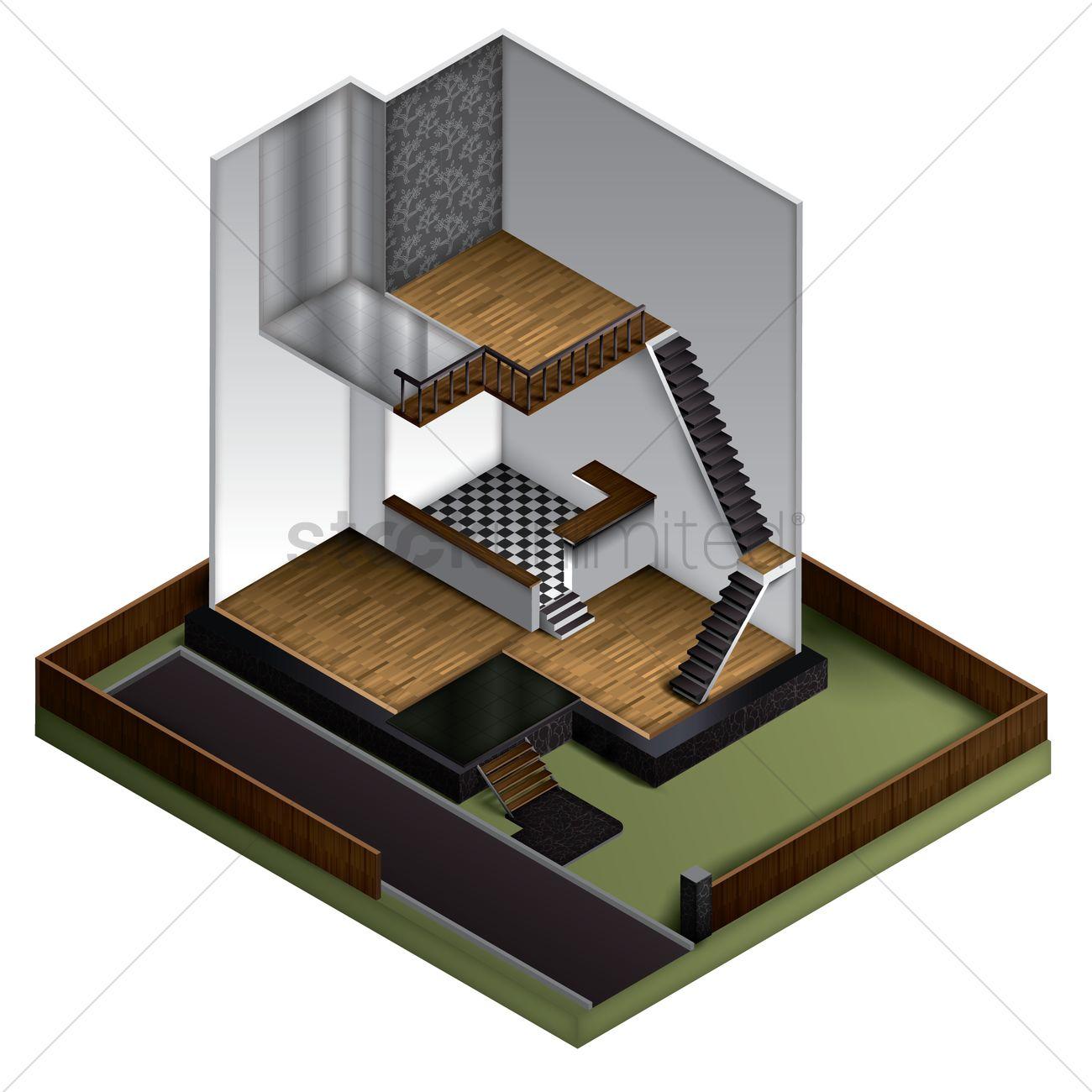 3d Floor Plan Of Modern House Vector Image 1573057 Stockunlimited