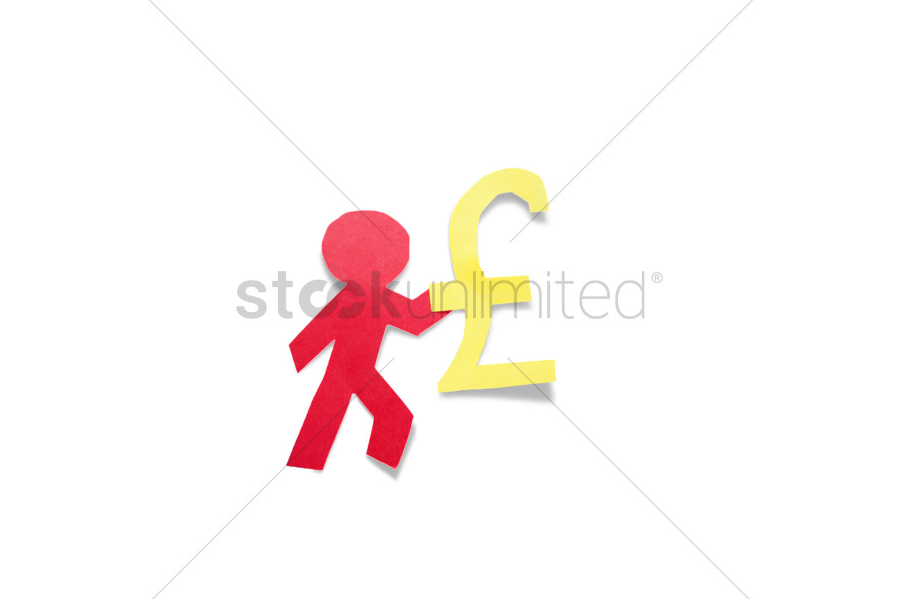 A Red Stick Figure Holding Pound Sign Over White Background Stock
