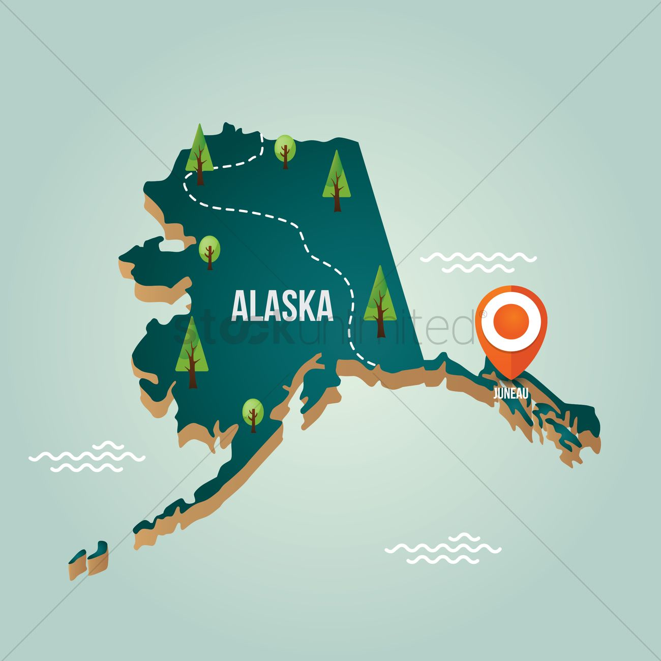 Alaska Map With Capital City Vector Image 1536589 Stockunlimited