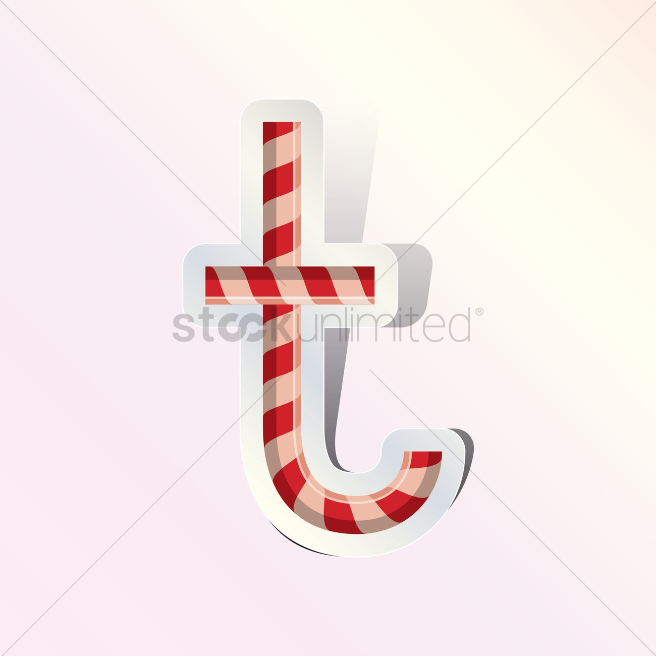 Alphabet Small Letter T In Candy Cane Design Vector Graphic