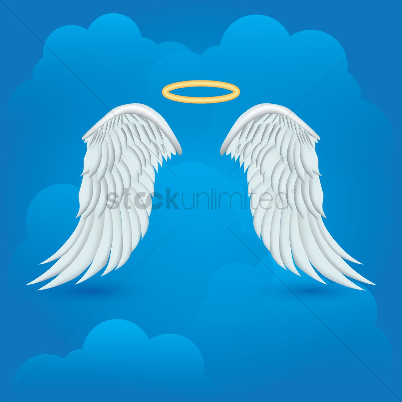 Angel Wings With Halo On Cloud Background Vector Image